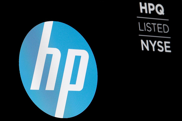 the logo for the hewlett packard company is displayed on a screen on the floor of the new york stock exchange nyse in new york us june 27 2018 photo reuters