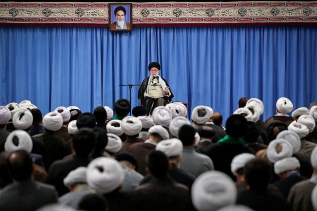 supreme leader ayatollah ali khamenei gives a speech to a group of scholars and seminary students of religious sciences in tehran photo reuters file