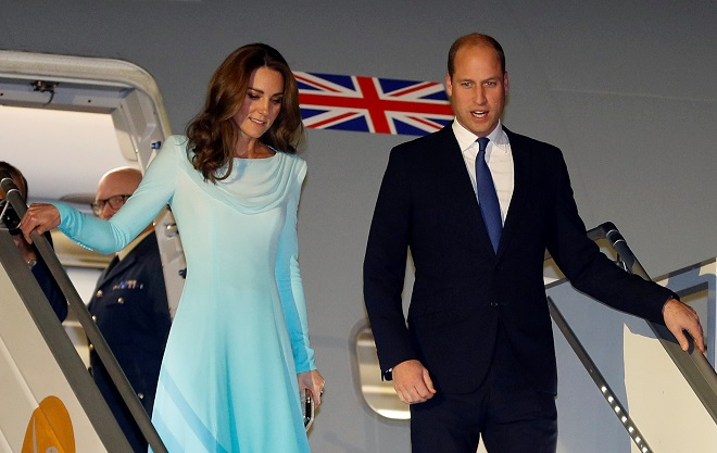 Britain's Prince William and Catherine, Duchess of Cambridge, arrive in Islamabad, Pakistan October 14, 2019. PHOTO: REUTERS