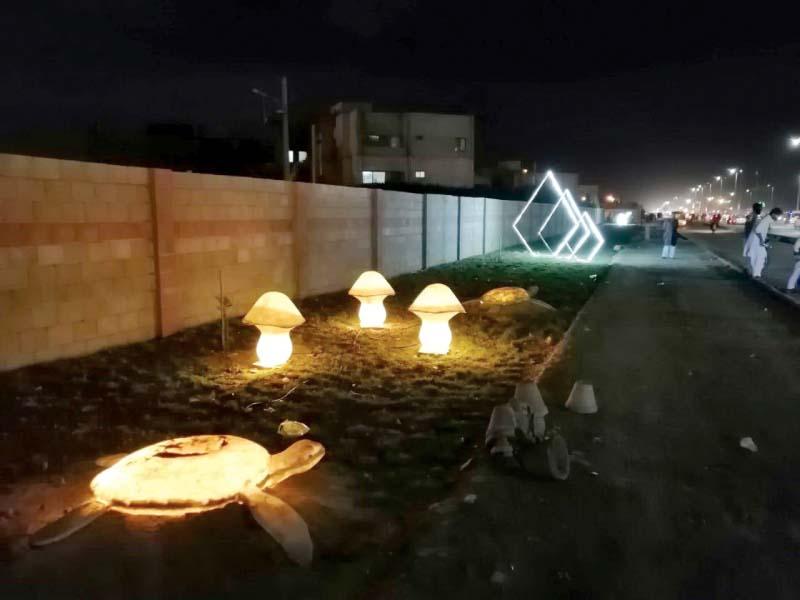 3d street lamps illuminated along abdul sattar edhi avenue