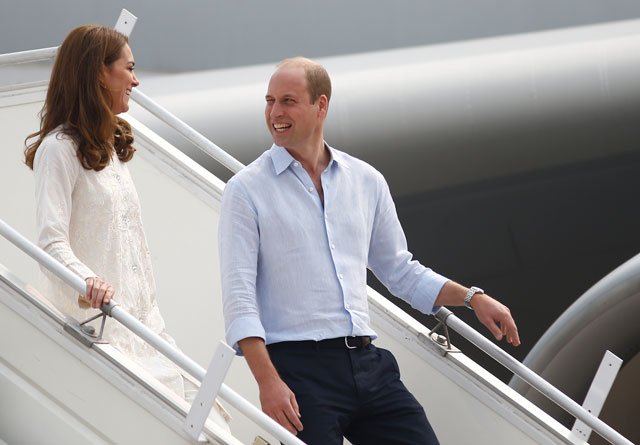 Britain's Prince William and Catherine, Duchess of Cambridge arrive in Lahore on Thursday. PHOTO: REUTERS