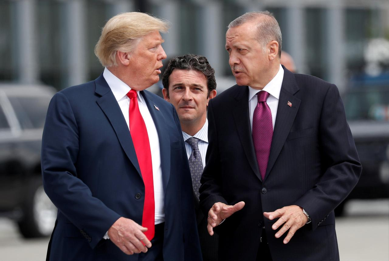 US President Donald Trump talks to Turkey's President Recep Tayyip Erdogan. PHOTO: REUTERS
