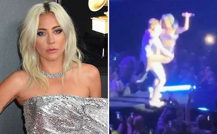 watch lady gaga falls off stage while dancing with fan