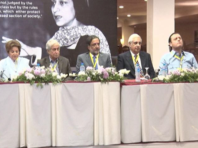 Politicians, lawyers and rights activists attend Asma Jahangir Conference in Lahore. PHOTO: EXPRESS
