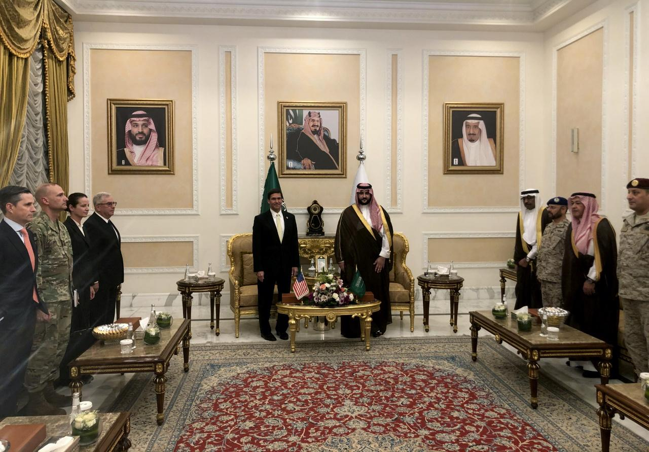 U.S. Defense Secretary Mark Esper is welcomed by Saudi Arabia's Deputy Defense Minister Prince Khalid bin Salman, in Riyadh, Saudi Arabia. PHOTO: REUTERS