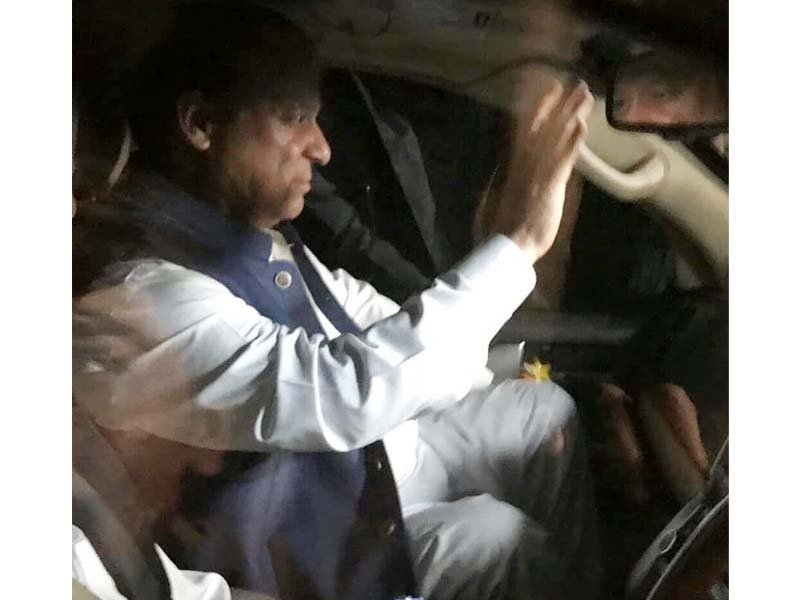 Former prime minister Nawaz Sharif being shifted to hospital late Monday night. PHOTO: EXPRESS