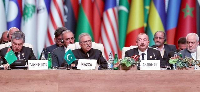 President Dr Arif Alvi addresses the 18th Non-Aligned Movement Summit in Baku. PHOTO: INP