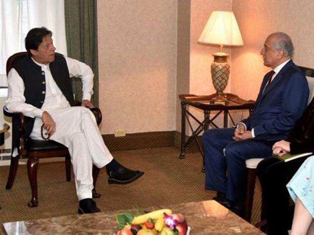 A file photo of PM Imran Khan's meeting with Zalmay Khalilzad. PHOTO: PID