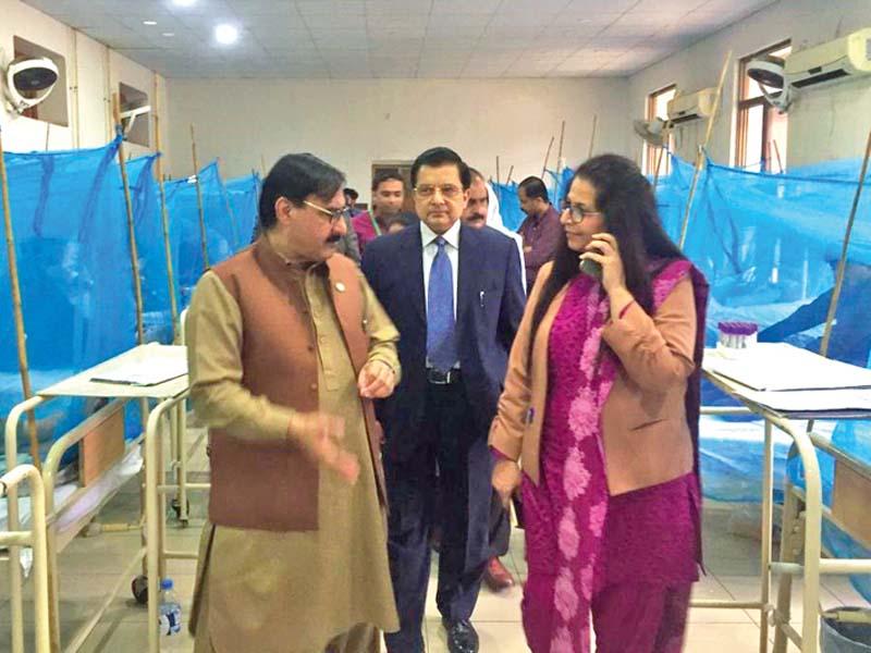 Punjab Health Services Director General Dr Haroon visits BBH Dengue Ward. PHOTO: EXPRESS