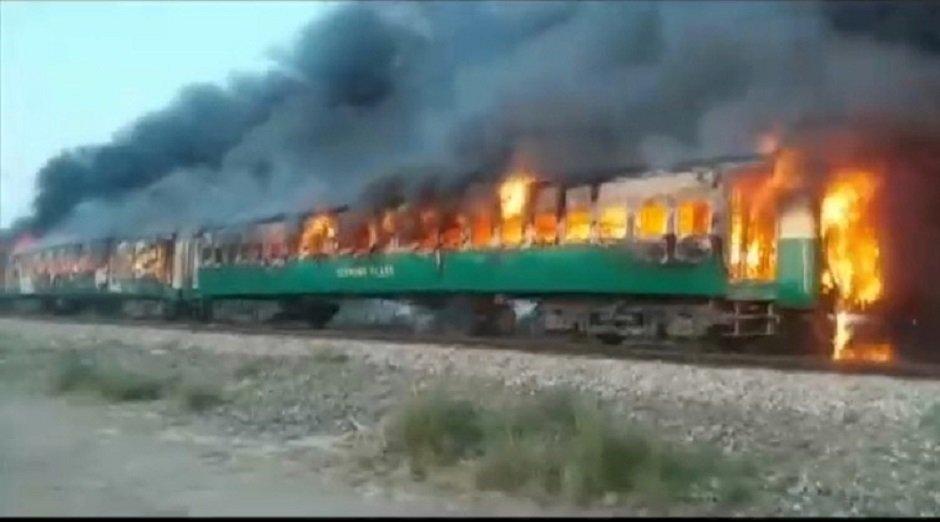 Fire burns Tezgam's train carriage. PHOTO: Reuters