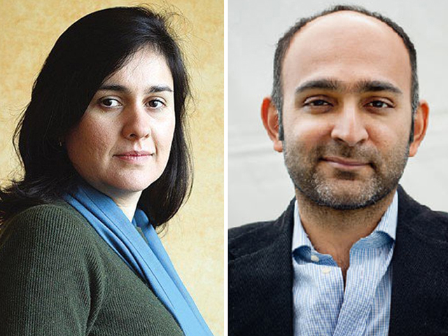 Kamila Shamsie (L) and Mohsin Hamid (R)