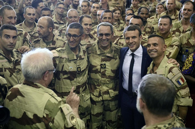 French President Emmanuel Macron visits French troops in Africa's Sahel region in Gao, northern Mali, on May 19, 2017. PHOTO: REUTERS/FILE