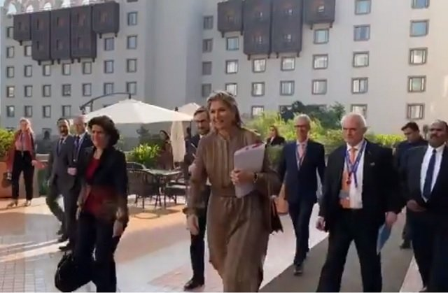 Queen Máxima of the Netherlands in Islamabad. PHOTO: SCREENGRAB