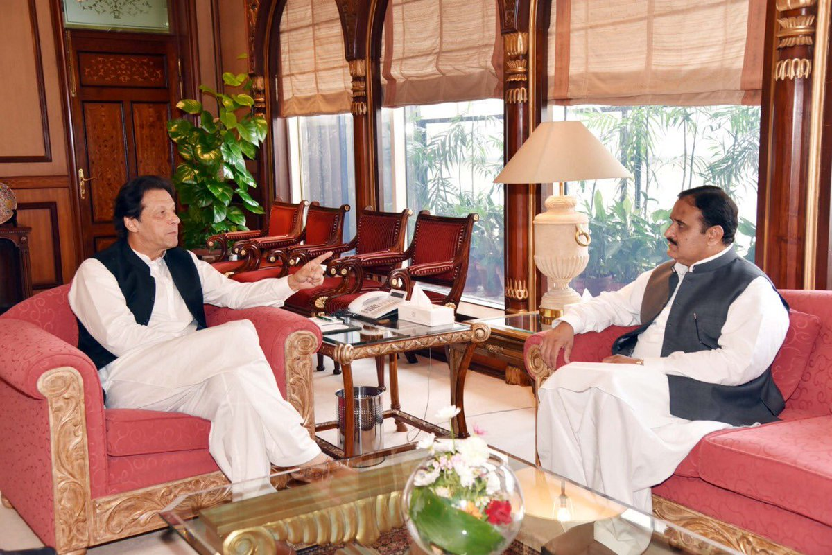 PM Imran Khan in a meeting with Punjab CM Usman Buzdar. PHOTO: FILE