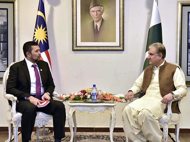 FM Qureshi meets deputy foreign minister of Malaysia in Islamabad on Friday. PHOTO: APP