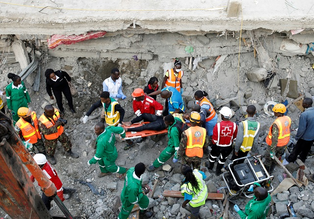 three dead in building collapse in kenyan capital