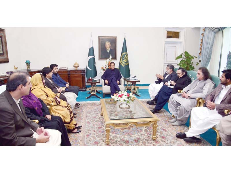 a delegation of balochistan lawmakers calls on prime minister imran khan in islamabad photo inp