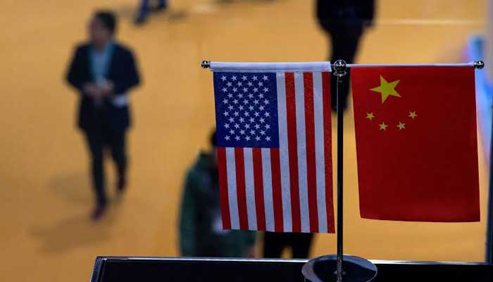 an afp file photo showing us and china flags