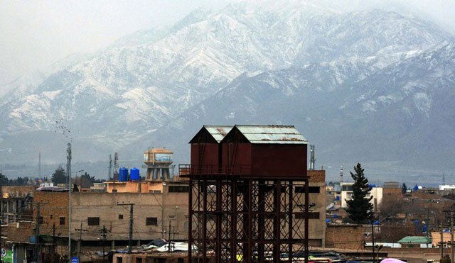 A view of snow-capped mountain in Quetta. PHOTO: INP