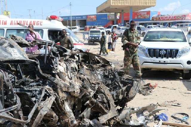 Al-Shabaab last month detonated a car-bomb in Mogadishu, killing 81 people: PHOTO: AFP