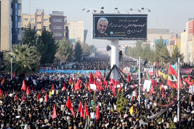 iranian people attend a funeral procession and burial for iranian major general qassem soleimani head of the elite quds force who was killed in an air strike at baghdad airport at his hometown in kerman iran january 7 2020 photo reuters