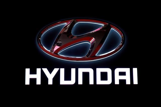 the logo of hyundai motor is pictured at the second media day for the shanghai auto show in shanghai china april 17 2019 photo reuters