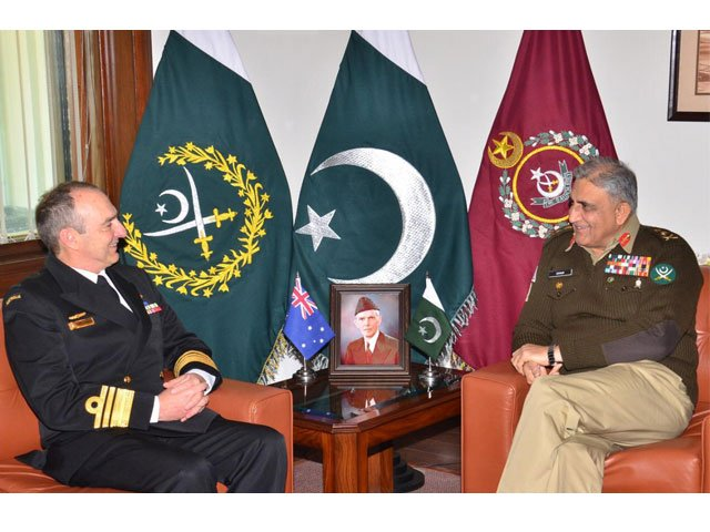COAS General Qamar Bajwa meets Vice Admiral David Johnston, Australia's Vice Chief of Defence Forces, at the GHQ on Friday. PHOTO: ISPR