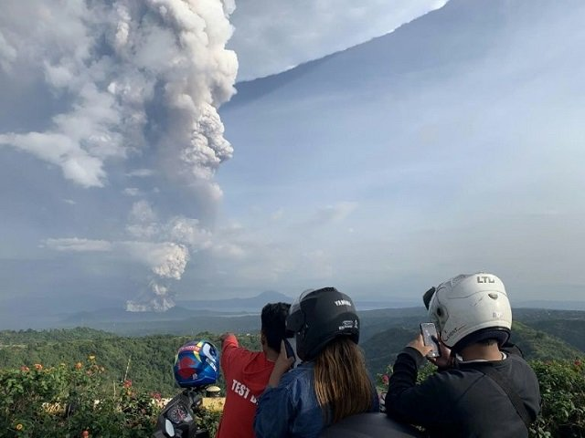 the local disaster office said it had evacuated over 2 000 residents living on the volcanic island which lies inside a bigger lake formed by previous volcanic activity photo afp
