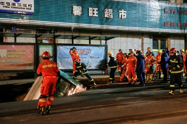 huge sinkhole swallows bus kills six in china