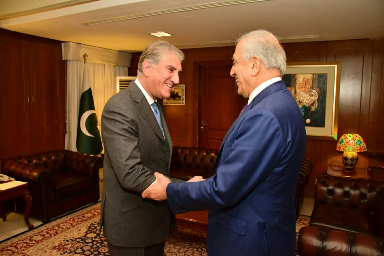 US special envoy Zalmay Khalilzad calls on Foreign Minister Shah Mehmood Qureshi in Islamabad. PHOTO: FOREIGN OFFICE/FILE