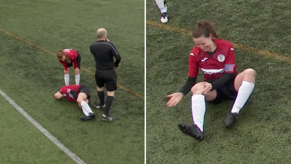 watch scottish footballer dislocates kneecap hammers it back in continues playing