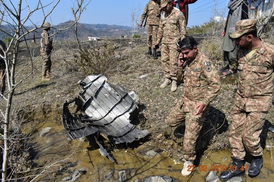 wreckage of indian jet shot down by paf