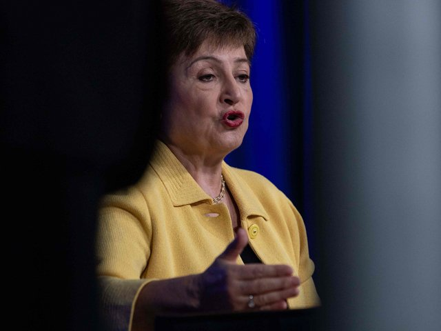 IMF Managing Director Kristalina Georgieva speaks at a press briefing on COVID-19 in Washington, DC, on March 4, 2020. PHOTO: AFP