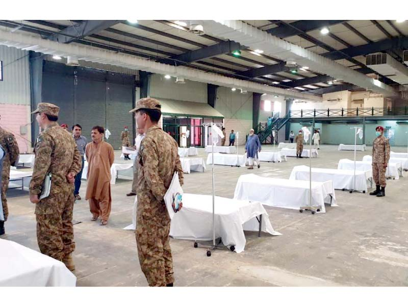 The armed forces, along with civil administration, set up an 800-bed quarantine centre, at Expo Centre Lahore, in preparation for the coronavirus threat in the city. PHOTO: EXPRESS