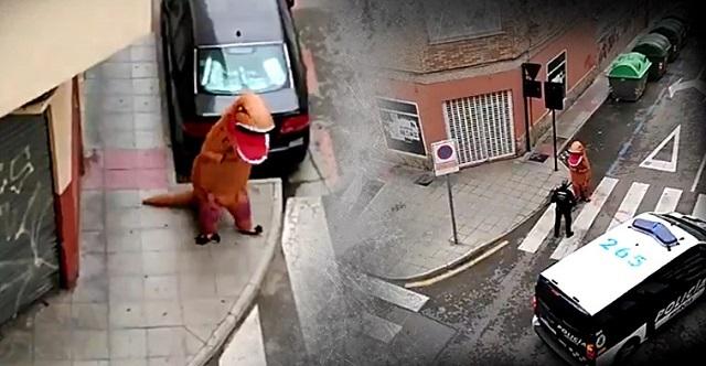 watch man in t rex costume walks the streets amid covid 19 lockdown