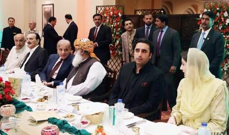 opposition leaders interact during a luncheon hosted by ppp chairman bilawal bhutto zardari in islamabad photo inp file