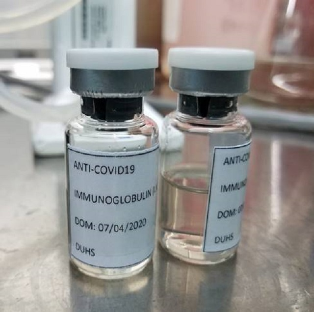 the vials containing the intravenous immunoglobulin ivig prepared by the dow university of medical sciences photo express
