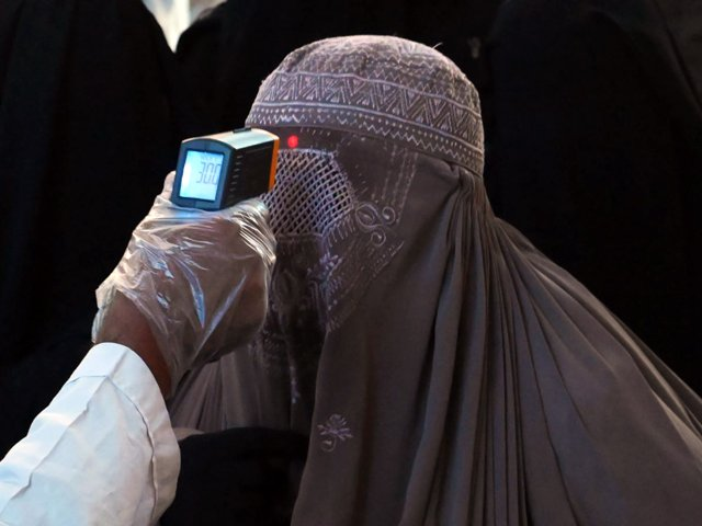 a health worker checks the body temperature of a burqa clad woman passenger amid concerns over the spread of the novel coronavirus at the railway station in lahore photo afp file
