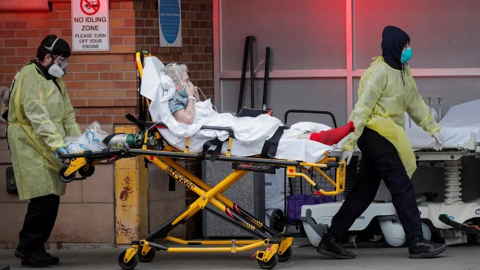 paramedics bring a patient into the emergency center at maimonides medical center during the outbreak of the coronavirus disease covid19 in the brooklyn borough of new york photo reuters