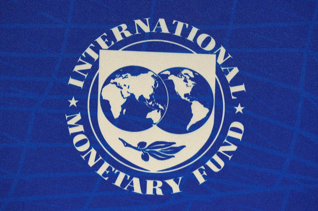 the logo of the international monetary fund imf is seen during a news conference in santiago chile july 23 2019 photo reuters