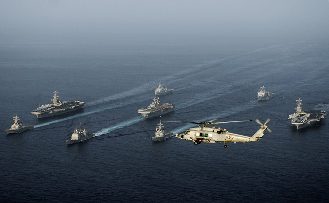 this file handout released by the us navy on may 23 2007 shows the uss john c stennis the uss nimitz and the uss bonhomme richard along with uss antietam uss o 039 kane uss higgins uss denver and uss rushmore steaming through the gulf of oman iran 039 s revolutionary guards said on july 29 2017 that the us navy had approached their patrol vessels in the gulf and fired flares in what it called a provocative move photo afp