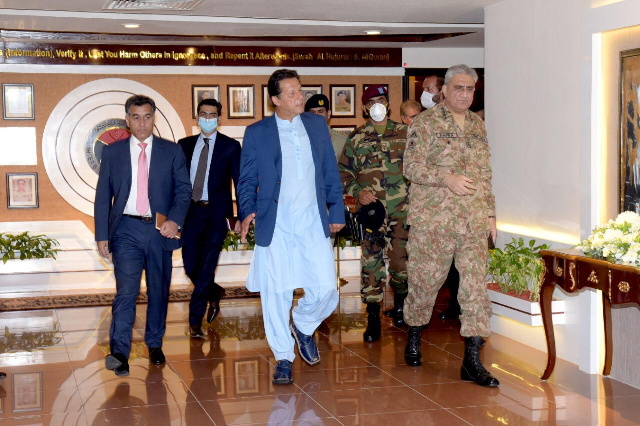 pm imran visits the inter services intelligence isi headquarters in islamabad on thursday photo express