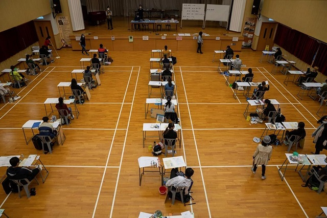 students attend to take the diploma of secondary education dse exams following the coronavirus outbreak in hong kong china on 24th april 2020 photo reuters