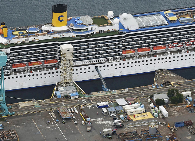 an aerial view shows italian cruise ship costa atlantica which has crew members confirmed with cases of the coronavirus disease covid 19 infection in nagasaki southern japan april 23 2020 photo reuters