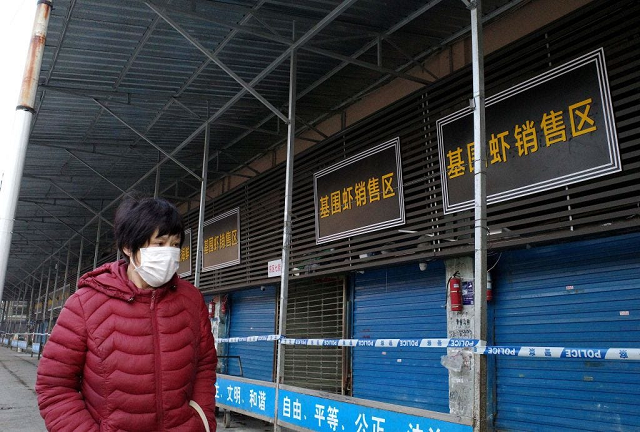 The closed Huanan Seafood Wholesale Market in Wuhan, China, on January 12. PHOTO: AFP