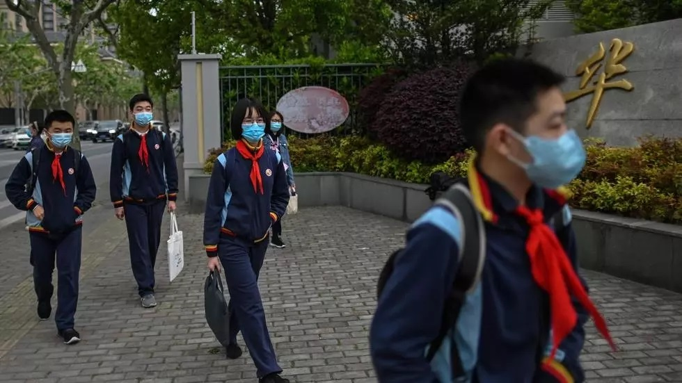 shanghai students in their final year of middle and high school returned to classrooms photo afp