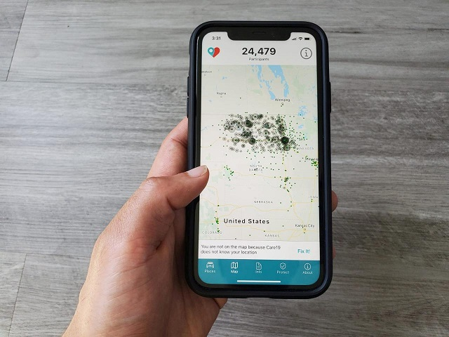 the care19 mobile app which the governors of north dakota and south dakota have asked residents to download to assist in contact tracing during the global outbreak of the coronavirus disease covid 19 is seen on a phone us april 24 2020 photo reuters