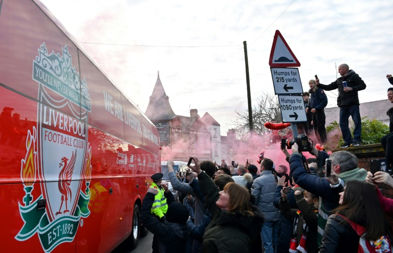when the english top flight was postponed on march 13 runaway leaders liverpool were just two wins from clinching the title photo afp