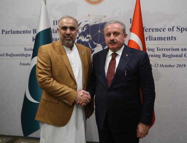 turkish speaker mustafa sentop r and pakistan na speaker asad qaiser l photo file