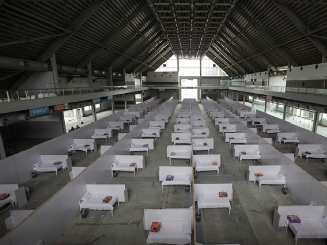 a general view of beds set up at the premises of the expo center in lahore photo reuters file
